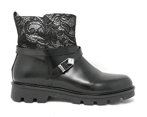 LIU-Jo Damen Stiefel/Stiefel aus Leder mit Spitze und Strass B23390/23391, Schwarz - Schwarz - Größe: 38 EU