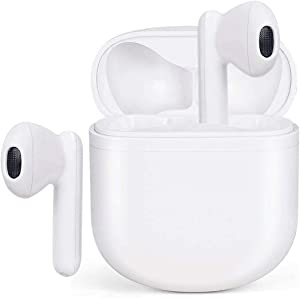 Wireless Earbuds Bluetooth 5.0 Headphones Waterproof Earphones with Charging Case 3D Stereo Earpods Air Buds in-Ear Ear Buds with Deep Bass Touch Headsets for Android/Samsung/Apple iPhone (White)