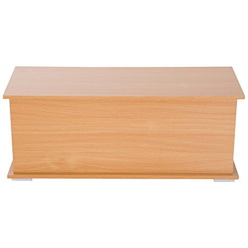 HOMCOM Truhe Aufbewahrungsbox Holzkiste mit klappbarem Deckel Spanplatte Buche 100 x 40 x 40cm - 3