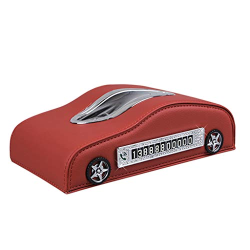 Tissue Box Toilet Paper Holders Storage Box Leather Car Napkin Box Anti-Slip Seat Type Inner Armrest BoxRed Stylish Creative Car Decoration Multi-Purpose Items in The Car Paper Products
