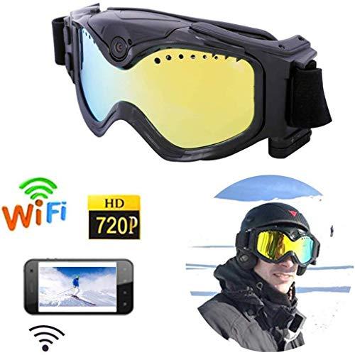 DDPHC Skibrille mit Action-Kamera Anti-Fog-UV-Schutz Schneebrille für Männer und Frauen Geeignet für Skifahren, Snowboarden, Skifahren