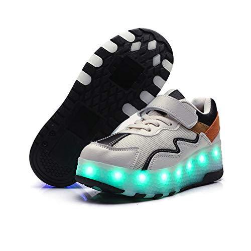 WFSH Zapatos de Heys Zapatos para niños Zapatos para niños y niñas LED Zapatos Luz Zapatillas Zapatillas De Ruedas (Color : White, Size : 30)