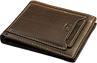 Men Leather Wallet with removable Card mini wallet - Coffee Brown