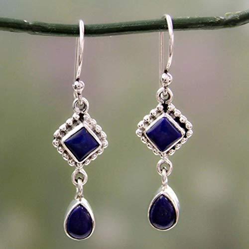 Nuevo día cuadrado Día de la emulación Pendientes de piedra azul de las gotas de agua larga Pendientes Pendientes Pendientes de joyería