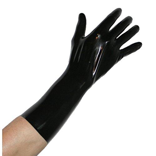 Rubberfashion kurze Latex Handschuhe extra dick, Latexhandschuhe bis übers Handgelenk nicht chloriert für Frauen und Herren Menge: 1 Paar schwarz XL