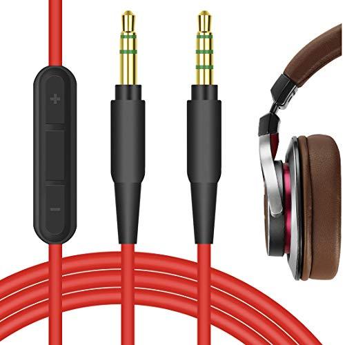 Geekria QuickFit Cable de audio con micrófono Compatible con Audio-Technica ATH-MSR7 ATH-WS990BT ATH-WS660BT Cable de auriculares, 3.5mm AUX Cable estéreo de repuesto micrófono en línea(Rojo 5.6FT)