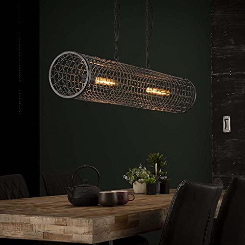 famlights Esstisch Pendelleuchte   Vintage Lampe silber  Deckenlampe Hängend Modern / 2-flammig Dimmbar Fassung: E27 Hängeleuchte Holz   Deckenleuchten / E27