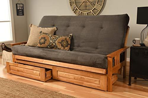 Kodiak Furniture Monterey Queen-size Futon, Storage Drawers, Butternut Finish with Suede Gray...