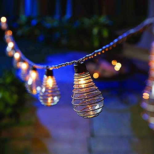 Battery Fairy Lights 10 Outdoor String Lights with PS50 Bulbs with Antique Wire Spring Hanging Lights Waterproof for Indoor and Outdoor Decorative Lights for Home Christmas Party Gazebo Garden