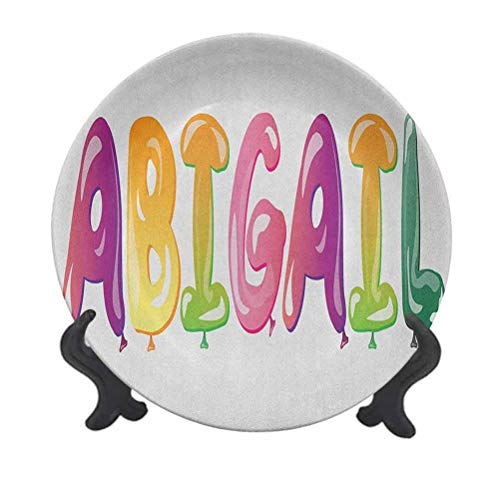 Abigail 8' Ceramic Decorative Plate,Colorful Feminine Name Festive Alphabet with Historical Roots Cartoon Lettering Decorative Ceramic Dinner Plate for Dining Table Tabletop Home Decor