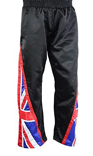 Pantalones de contacto completo con la bandera del Reino Unido de satén del equipo GB Bottoms Pantalones Kick Boxing, Pantalones de la bandera del Reino Unido, color negro, XXL