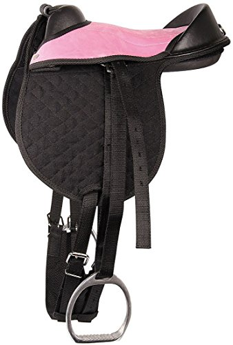 Harry's Horse Reitkissen Bambino schwarz/rosa Pony/Shetty Pad komplett mit Riemen, Steigbügel und Sattelgurt
