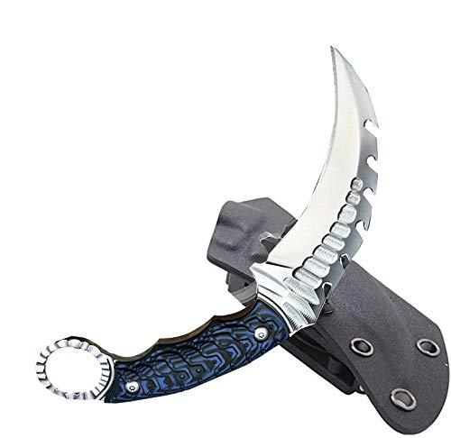 Akatomo Outdoor Survival Cuchillos de Hoja Fija Hechos a Mano de Alta dureza 62HRC D2 Acero, Mango G10 Cuchillo EDC Cuchillo de Caza para Acampar, con Fundas Kydex para Regalos, Colecciones (Blue)