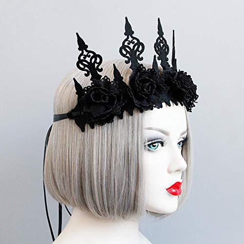 Mississ Halloween Gotik Schwarze Königin-Krone - Schwarze