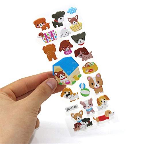 BLOUR 5 Hojas Nuevas Bonitas Pegatinas hinchadas de Burbujas de PVC de Animales de Dibujos Animados en 3D para niños, niñas, niños, Dinosaurios, Juguetes clásicos, recompensa para Maestros de Escuela