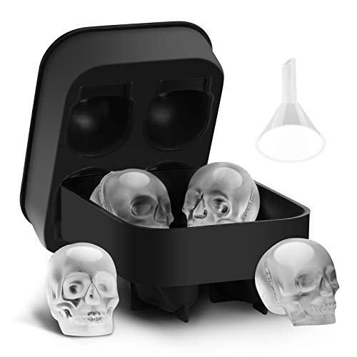 Tifanso 3D Skull Silicone Ice Cube Tray Mold with Lid for Freezer, Ice Cube Molds Silicone Skull Molds Trays with Funnel for Cocktail, Whiskey, Bourbon, Chilled Drinks Black