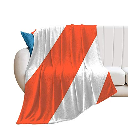 Donghouse Blanket Orange and White Stripes Retro Flannel Blanket Comfort Velvet Touch Ultra Plush, Novelty Soft Throw Blankets fit Couch Sofa Bedspread Coverlet Bed Cover 40' X 50'