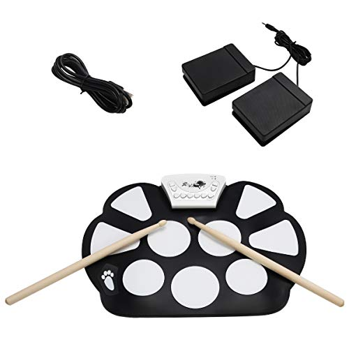 COSTWAY 10 Pad elektronisches Schlagzeug, E-Drum, Roll-Up-Trommel, Trommel, Roll-Up-Drum, Drum Set, Elektronik Drum, Drum Kit, faltbar, inkl. 2 Fußpedale und Sticks