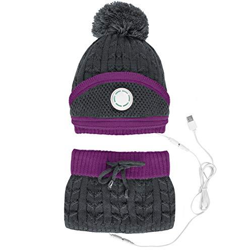 NCONCO Polar Forrado Sombrero De Punto Bufanda De Invierno Sombrero De Punto Círculo Bufanda Cuello Calentador Rosa