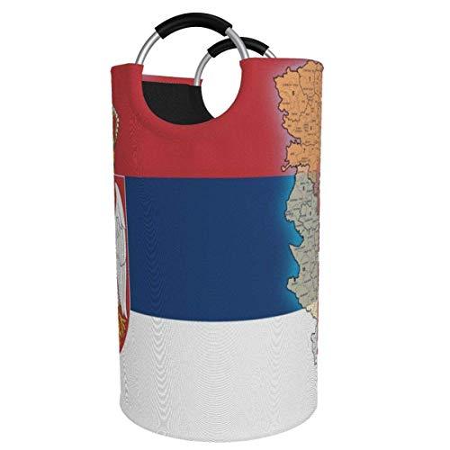 N\A Cesta de lavandería Grande de 82 l, Mapa de la Bandera de Serbia Cesta de lavandería de Tela Plegable, Bolsa de Ropa Plegable, Cesta de Almacenamiento Plegable