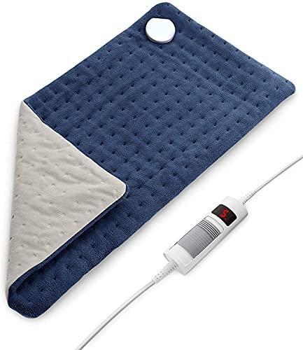 Almohadilla eléctrica (30 x 60cm) con calor & 6 Ajuste de temperatura, Almohadilla térmica para la espalda del cuello, controlador desmontable y lavable, apagado automático de 1,5 h para uso doméstico
