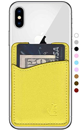Premium Leather Phone Card Holder Stick On Wallet for iPhone and Android Smartphones (Yellow Leather)