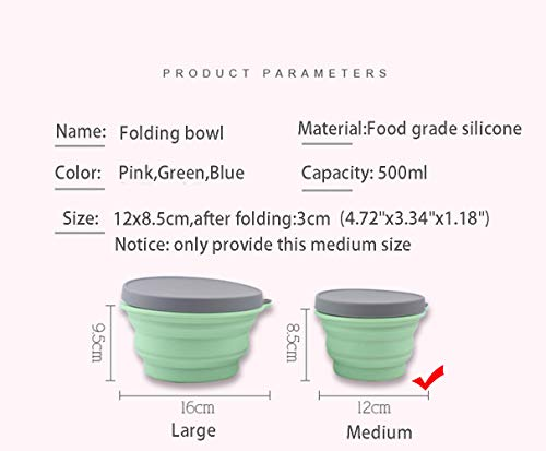 Collapsible Camping Cup Bowl Basin, Silicone Folding Bucket Bowl Retractable Mug Portable Folding Travel Accessory, Outdoor (Bowl, Blue)