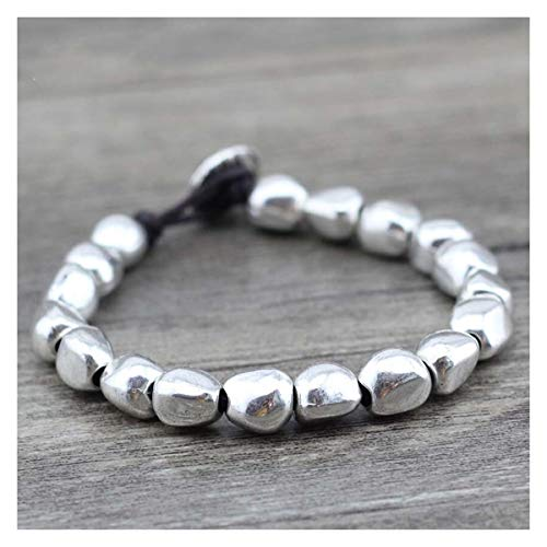 JINGGEGE Design Handmade DIY Zinklegierung Perlen einzigartige Silber überzogene Freundschaft Wrap Armbänder Geburtstagstag Geschenk (Color : Silver)