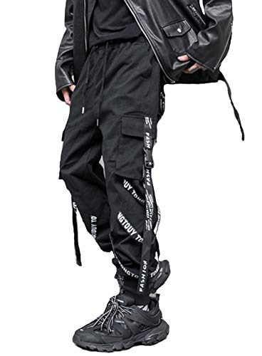 Hello MrLin Herren Hip Hop Jogger Cargo Pants Techwear Hosen Baggy Streetwear Punk Hose schwarz Gr L