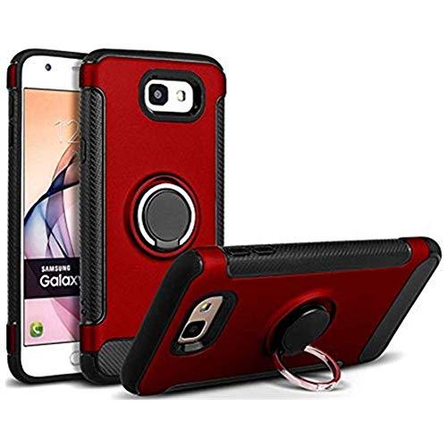 Carcasa compatible con Samsung Galaxy J5 Prime, soporte de anillo, carcasa de protección contra arañazos, carcasa de silicona dura para Galaxy J5 Prime rojo Talla única