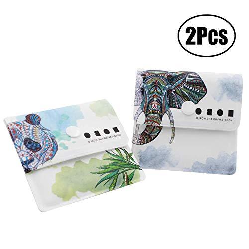 Aibada 2ポケット灰皿グレーバッグ-耐火性PVC-無香料-ポータブルコンパクト-独自に設計されたパンダと大きな象のパターン