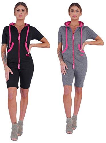 Finchgirl Damen Jumpsuit Sommer einteilig Jogging Trainingsanzug Overall (M, dunkelgrau/pink)