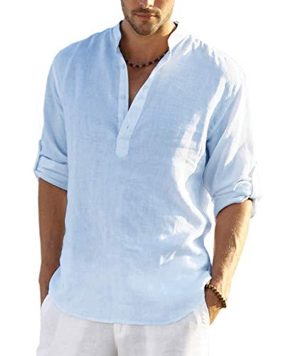 COOFANDY Camiseta de manga larga para hombre, algodón y lino, estilo hippie azul L