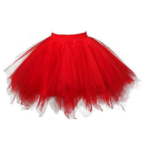 Andouy Damen Tutu Rock Tüll Petticoat Ballett Tanz Organza Geschichteten Blase Kostüm Dress-up Sexy Größe 36-52(42-46,rot)