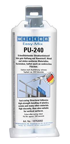 Weicon 10753050 Easy-Mix PU-240 50ml Strukturklebstoff für Polyurethan, Kunststoff, Metall, schwarz