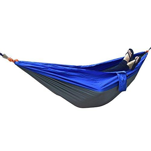 Ultra léger Portable Tissu en Nylon léger Double Portable Parachute Hamac de Voyage Camping Hamac à Suspendre Lit pour Camping Voyage randonnée Swing (Bleu et Gris) …