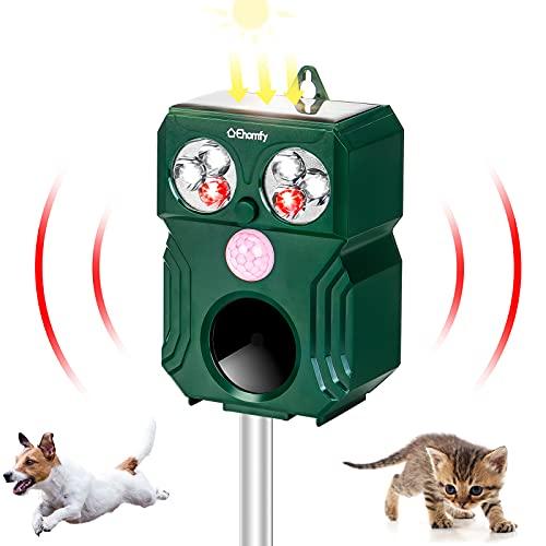 Ehomfy Repellente Gatti, Repellente Ultrasuoni Solare Completamente Automatico e Impermeabile IP64 per Allontanare Animali,Gatti, Ratti,Cani,Uccelli, Gamma di frequenza: 9kHz ~ 70kHz