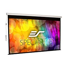 "120-inch Diagonal, 16:9 Aspect Ratio. View Size: 58.8"" H x 104.6"" W. Overall Size: 77.0"" H x 112.3"" W x 3.5"" D. Extra 12-inch Drop. White Case. Screen Material: MaxWhite FG, 1.1 Gain. Fiberglass-backed, 180 degree wide viewing angle, fully black back..."