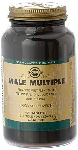 Solgar Male Múltiple, Multinutriente para el Hombre, Con Vitaminas, Minerales y Licopeno, Apto para Veganos, 120 Comprimidos