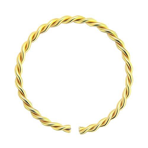 9K Gelb Gold 22 Gauge - 8MM Durchmesser kontinuierliche Twister Hoop Nasenring Nase Piercing