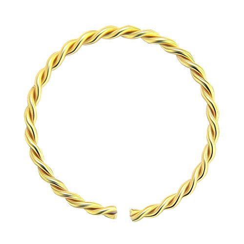 AZARIO LONDON 9K Yellow Gold 22 Gauge - 8MM Diameter Continuous Twister Hoop Nose Ring Nose Piercing