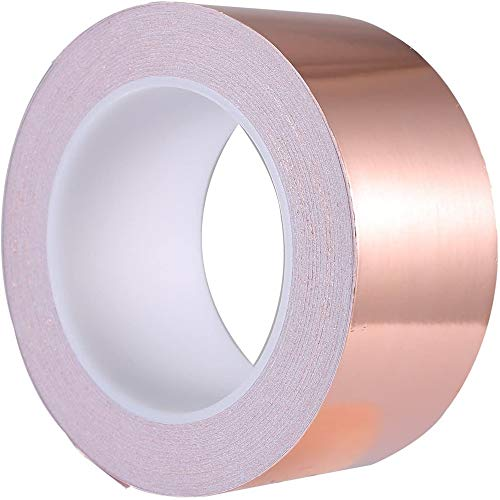 Copper Foil Tape, Conductive Adhesive (2inch X 66 FT), High Temperature Resistance Copper Electrical Adhesive Roll for Guitar & EMI Shielding, Slug Repellent, Crafts, Electrical Repairs, Grounding