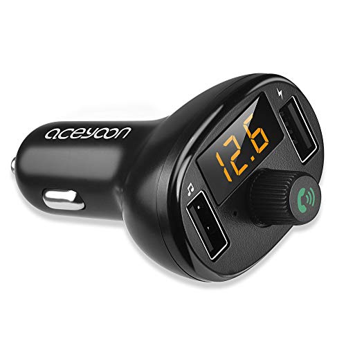 aceyoon Bluetooth Coche Mechero 3.4A Carga Rápida Transmisor FM Bluetooth 5.0 Cargador Coche Tecnología iSmart Manos Libres con Indicador LED Car Charger Dual USB, U Disk - Negro
