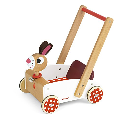 Janod J05997 Lauflernwagen aus Holz, Crazy Rabbit