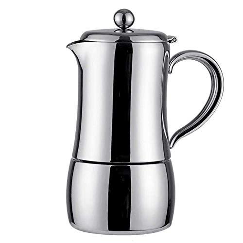 Zidao Espressokocher, 6 Tassen Moka Kaffeekanne Italienische Kaffeemaschine Für Cappuccino Oder Latte, 450ML,Silber