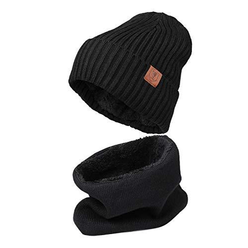 OZERO Thermo Hut Schal Set,Gestrickte Warme Set im Winter,Herren und Damen,1 Set