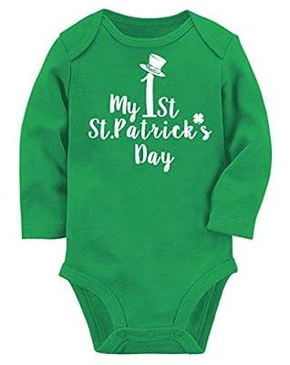 Lovefairy Newboorn Baby Boy Gifts My 1st St Patrick's Day Cotton Romper Infant Green Onesie Girls Sleepwear Playsuit Jumpsuit Pajamas 0-3 Months