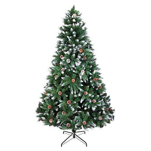 Bascar - Albero di Natale artificiale con neve e pigne ca. 800/1200/1300 punte, albero di Natale ignifugo con montaggio rapido, con supporto per albero di Natale incluso l