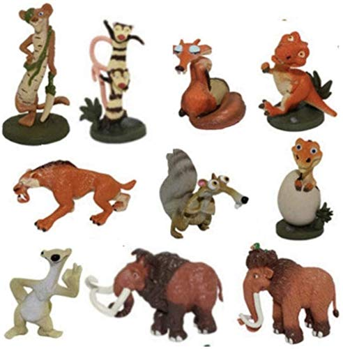 cheaaff Ice Age Action Figures Buck/Ellie/Scrat/Dinosaur Figures Toys Set of 10 pieces