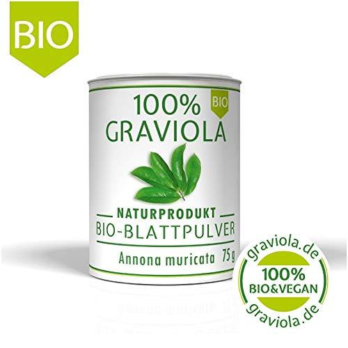 100{7991c0521fa8359280a7c6f20be0b0399a85c8d610281a7deabba37ac7f3d90a} Bio Graviola Blattpulver. 75 g. Bio & Vegan/Bio Zertifizierte Qualität. Soursop. Guanábana. Corossol. Guyabano.